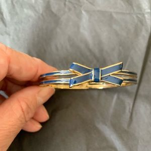 Kate Spade Navy & Gold Bow Enamel Bangle